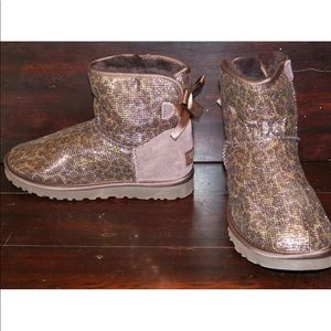 New Womens UGG Bailey Bow Leopard Bronze Boots